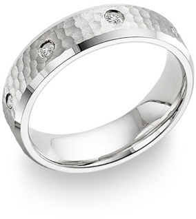 Hammered Diamond Wedding Band, 14K White Gold