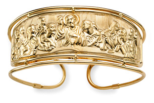 14K Gold The Last Supper Bangle Bracelet