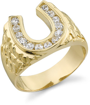 14K Gold Men's HOrseshoe CZ Ring