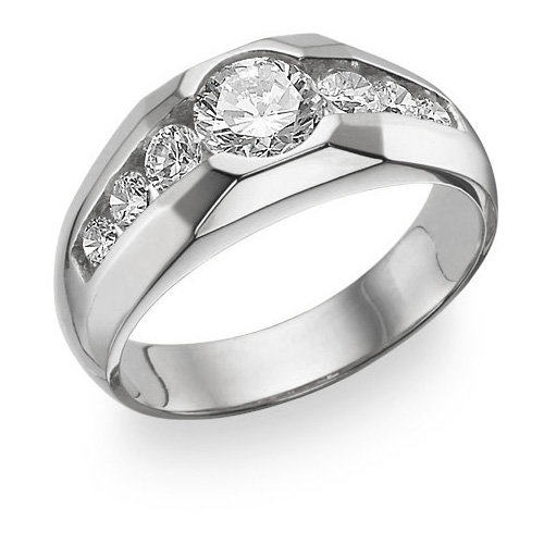 Men's 7 Stone CZ Ring, 14K White Gold