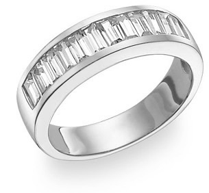 Men's Baguette CZ Ring, 14K White Gold