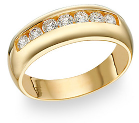14K Gold Men's 7 Stone CZ Ring