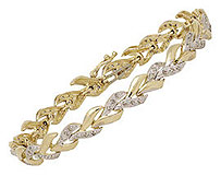 10K Gold Stylized Leaf 1/2 Carat Diamond Fashion Bracelet