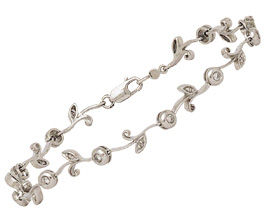 14K White Gold Bud & Leaf 1/4 Carat Diamond Bracelet