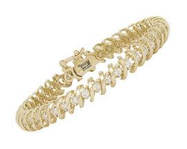1K Gold Flat Swirl 3.0 Carat Diamond Tennis Bracelet