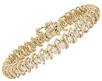 14K Gold Traditional Swirl 5.0 Carat Diamond Bracelet