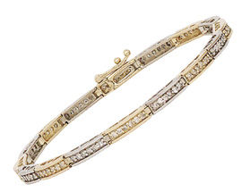 14K Two-Tone Gold ''Bridge'' 1 Carat Diamond Bracelet