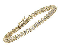 10K Two-Tone  Gold 1/4 Carat Diamond Swirl Bracelet