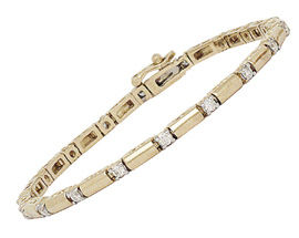 14K Gold Contemporary 1 Carat Diamond Barrel Bracelet