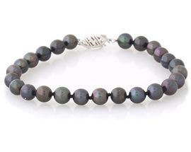 Buy Cultured Black Pearl  Bracelet – 14K White Gold