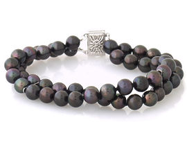 Cultured Black Pearl Double Strand Bracelet - 14K White Gold