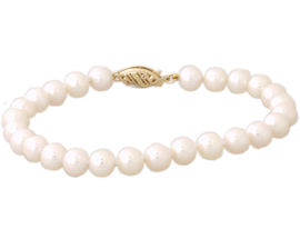Cultured Round Pearl Bracelet 14K Yellow Gold - 6.5mm