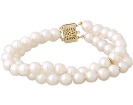 Cultured Round Pearl Braceket 14K Yellow Gold - 6.5mm