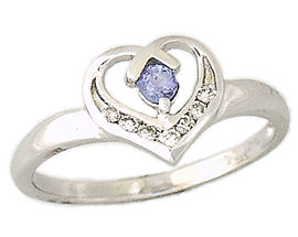 Tanzanite and Diamond Heart Ring - 14K White Gold