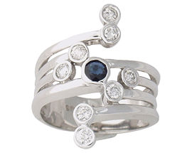 Sapphire and Diamond Right Hand Ring (Apples of Gold)