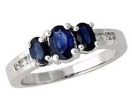 14K White Gold Sapphire and Diamond Channel Ring