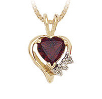 10K Gold Heart Shape Garnet and Diamond Pendant