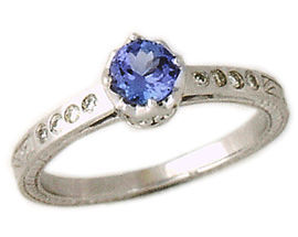 Buy Art Deco Tanzanite and Diamond Crown Ring – 14K White Gold