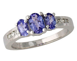 Three Stone Tanzanite and Diamond Ring - 14K White Gold