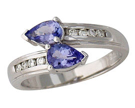 Buy Tanzanite and Diamond Pear Cut Ring – 14K White Gold