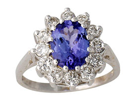 2.0 Carat Tanzanite and 1 Carat Diamond Flower Ring