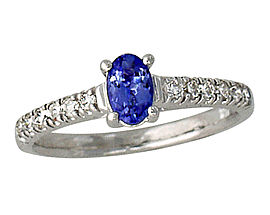 Buy Carved Tanzanite and 1/4 Carat Diamond Ring – 14K White Gold