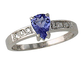 Pear Cut Tanzanite and Diamond Ring - 14K White Gold
