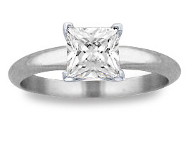 1.00 Carat Princess Cut Diamond Solitaire Ring, 14K White Gold
