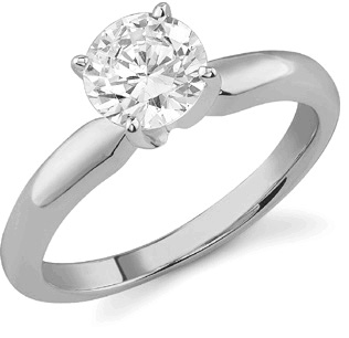 1.00 Carat Round Diamond Solitaire Ring, 14K White Gold
