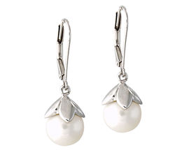 Freshwater Pearl Drop Earrings - 14K White Gold