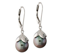 Tahitian Pearl Drop Earrings in 14K White Gold