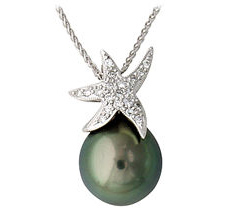 Tahitian Pearl and Diamond Sparkling Star Pendant in 14K White Gold