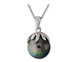 Tahitian Black Pearl and Diamond Pendant - 14K White Gold