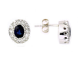 Sapphire and Diamond Royal Earrings - 14K White Gold (Earrings, Apples of Gold)