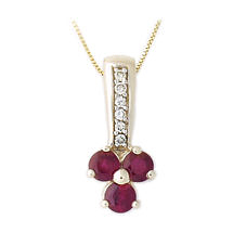Buy Ruby and Diamond Clover Pendant – 14K Gold