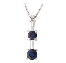 Buy 3 Stone Sapphire and Diamond Pendant – 14K White Gold