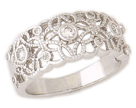3 Stone .20 Carat Diamond Lace Engraved Ring in 14K White Gold (Apples of Gold)