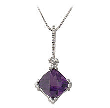 Amethyst and Diamond Cushion Cut Pendant - 14K White Gold