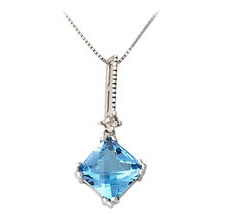 Blue Topaz and Diamond Stud Pendant - 14K White Gold
