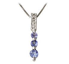 Three Stone Tanzanite and Diamond Pendant - 14K White Gold