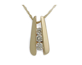 Buy 14K Gold Three-Stone Channel Set 1/4 Carat Diamond Pendant with Chain