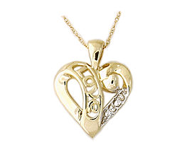 Buy 10K Gold Diamond LOVE Engraved Heart Pendant with Chain