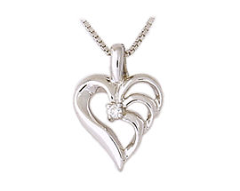 Buy 14K White Gold Triarch Diamond Heart Pendant