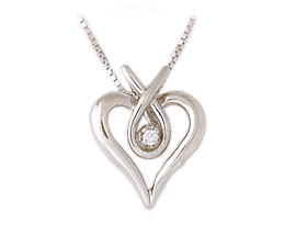 14K White Gold Diamond Heart Ribbon Pendant with Chain (Pendants, Apples of Gold)