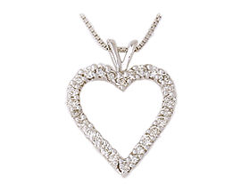 Buy 14K White Gold 1.0 Full Carat Diamond Heart Pendant with Chain