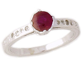 Art Deco Ruby and Diamond Crown Ring - 14K White Gold