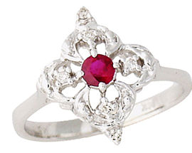Buy Ruby and Diamond Flower Sparkle Ring – 14K White Gold