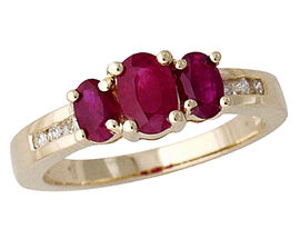 3 Stone Ruby and Diamond Channel Stone Ring
