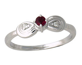 Buy Ruby and Diamond Ribbon Ring – 14K White Gold