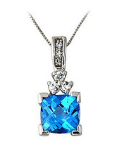 Blue Topaz and Diamond Pendant 14k White Gold
